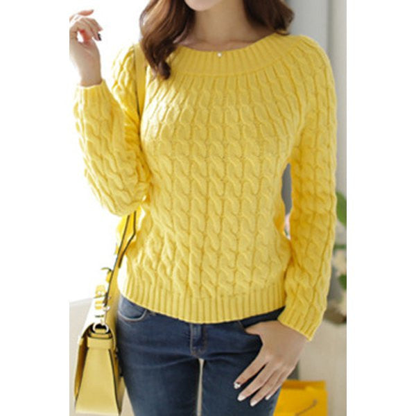 Retro Style Long Sleeve Cable-Knit Sweater - Ashlays - 1