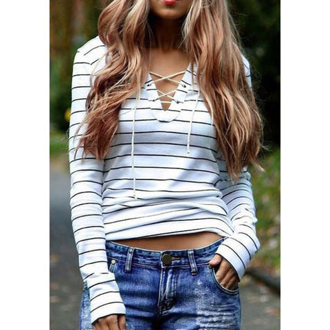 V-neck Lace-up Stripe Sweater - Ashlays