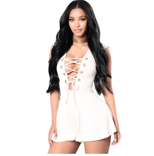 Lace up Sleeveless High Waist Bodycon Jumpsuit