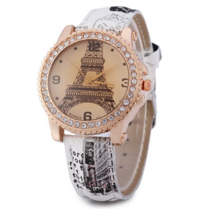Diamond Bezel Quartz Watch with Printed Leather Strap Tower - Ashlays