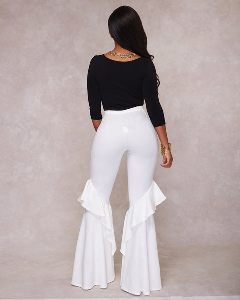 Ruffled Wide Leg Flare Trousers