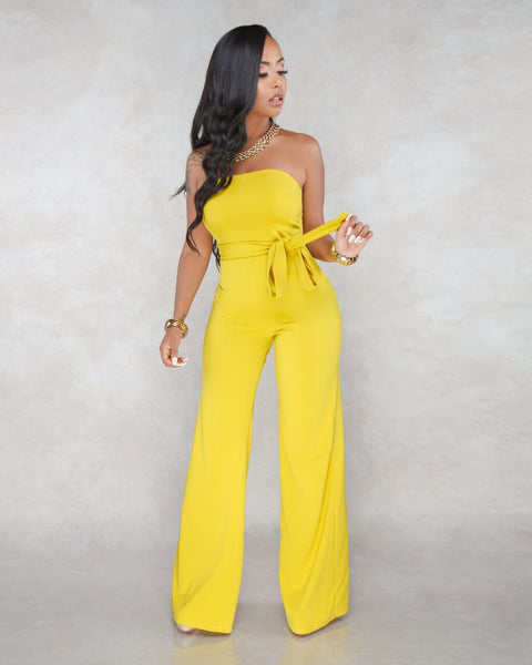 Off Shoulder Wrap Yellow Jumpsuit