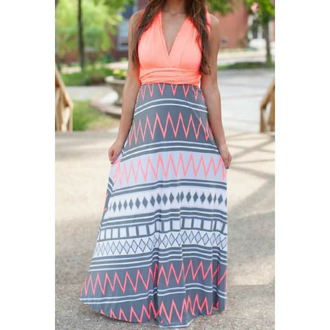 Zigzag Criss-Cross Sleeveless Maxi Dress - Ashlays