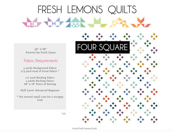 Four Square Quilt Pattern - PDF