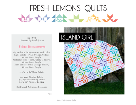 Island Girl Quilt Pattern - Printed & Shipped