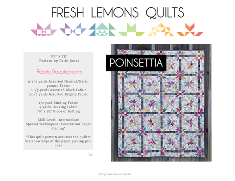 Poinsettia Quilt Pattern - Printed & Shipped