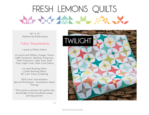 Twilight Quilt Pattern - Printed & Shipped