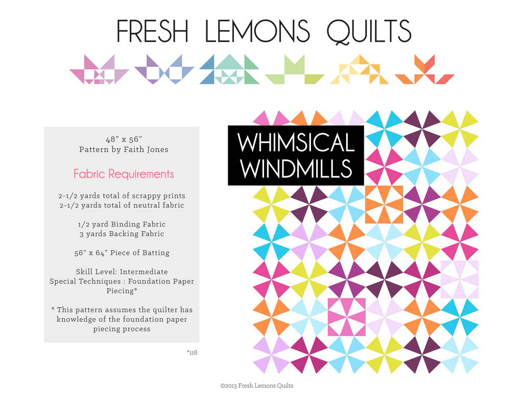 Whimsical Windmills Quilt Pattern - PDF