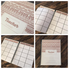 The Essential Teacher WEEKLY Planner- Rose Gold Tribal Design