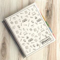 The Essential Teacher Planner- Black and White School Doodles