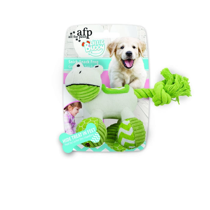 All For Paws Little Buddy Snick-Snack Frog - Puppy Dog Toy - Fernie's Choice