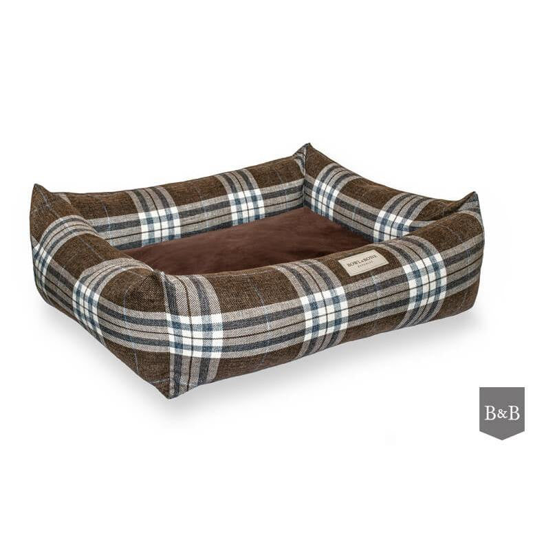 Bowl and Bone Scott Tartan Check Brown Dog Bed - Luxury Dog Bed