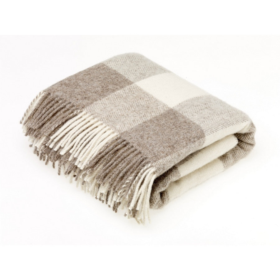 Bronte By Moon Check Beige Dog Throw - Pure New Wool - Fernie's Choice