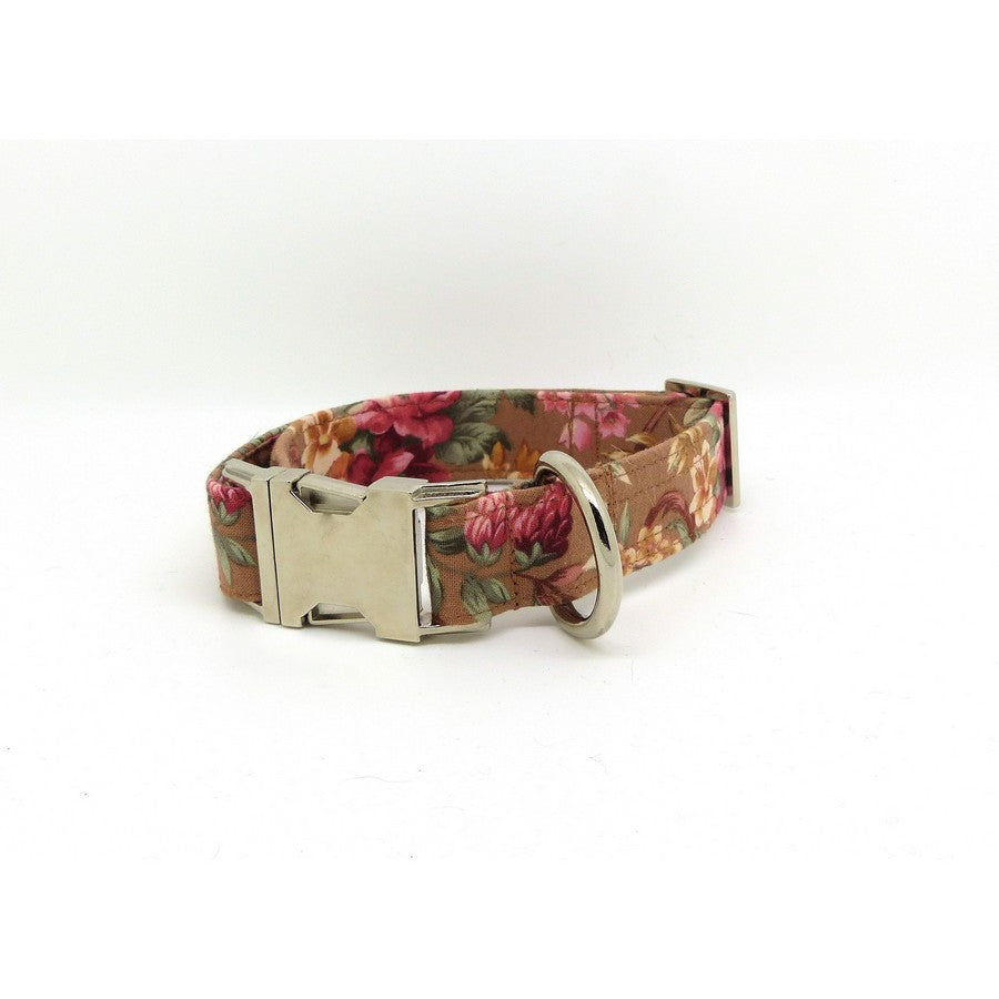Brown & Rose Floral Dog Collar - Fernie's Choice Classic Country Wear for Dogs