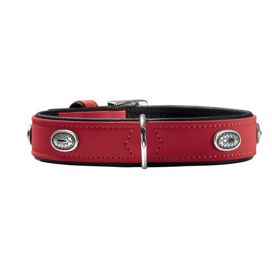 Hunter Art Nubuck Luxury Red Stone Dog Collar - Fernie's Choice Classic Country Wear for Dogs