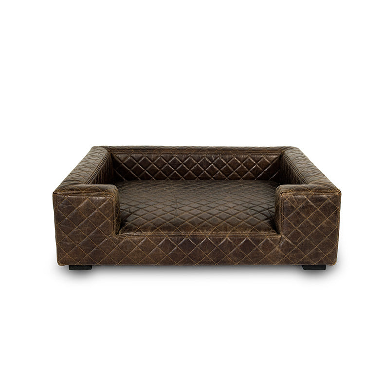Lord Lou Luxury Dog Bed - Edoardo Faux Brown Leather Bed - Fernie's Choice Classic Country Wear for Dogs
