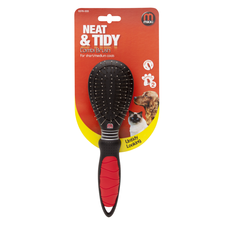 Mikki Combi Dog Grooming Brush - For Short/Medium Coats