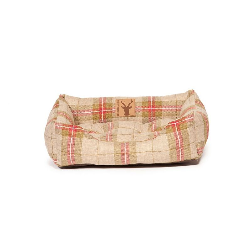 Newton Truffle Snuggle Dog Bed - Beige & Red - Fernie's Choice Classic Country Wear for Dogs