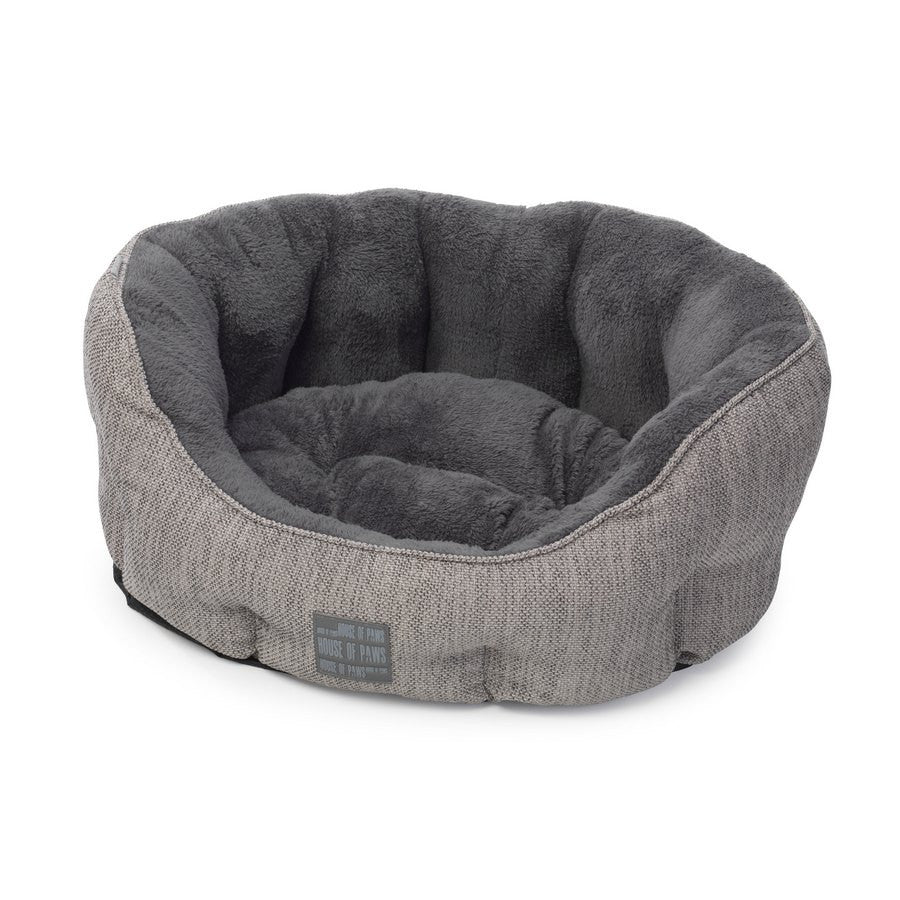Grey Hessian & Plush Oval Bed- BEST SELLER - House of Paws