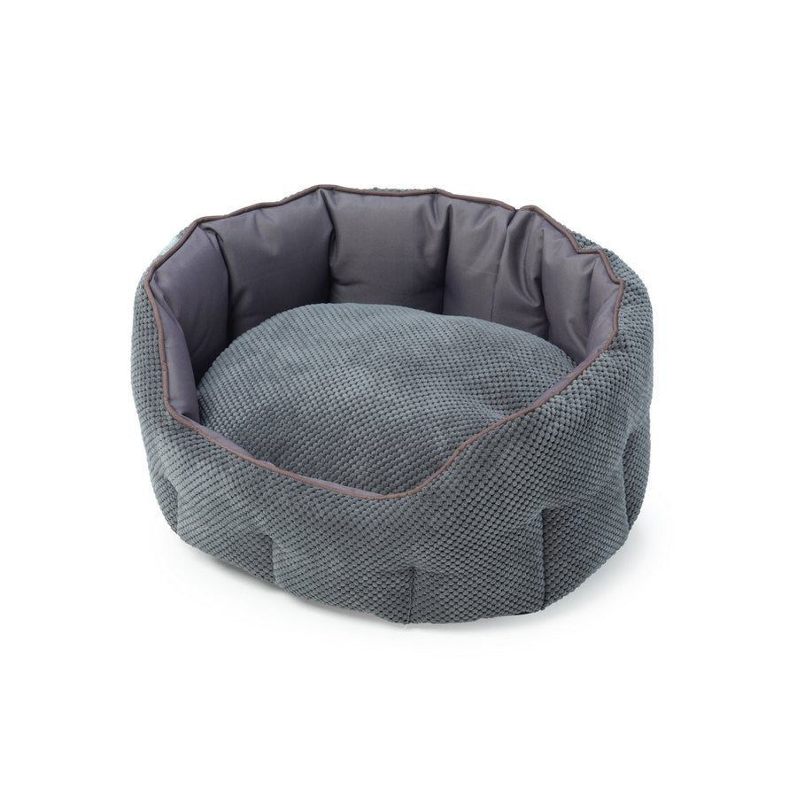 Grey Cord Oval Snuggle Dog Bed - Fernie's Choice Classic Country Wear for Dogs