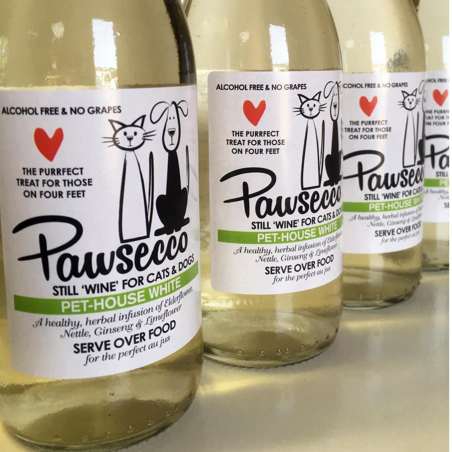"Pawsecco - Still ""White Wine"" for Dogs & Cats - Woof & Brew. Elderflower drink for dogs and cats"