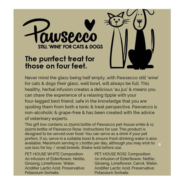 Pawsecco Still White 'Wine' for Dogs & Cats 250ml - Fernie's Choice Classic Country Wear for Dogs