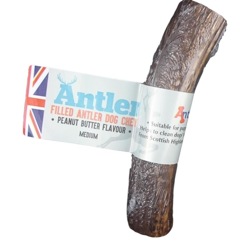 Antos Filled Antler Dog Chew Peanut Butter Flavour Medium - Fernie's Choice Classic Country Wear for Dogs