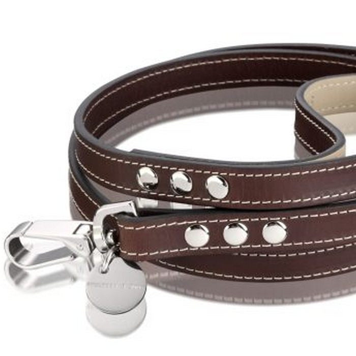 Hennessy & Sons Royal Chocolate Brown Leather Dog Lead - Fernie's Choice