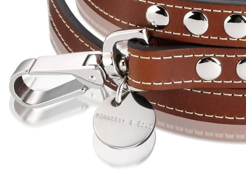 H & S Royal Reddish Brown Leather Lead - Fernie's Choice Classic Country Wear for Dogs