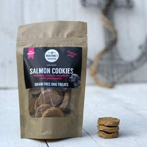 Armstrong's Twisted Fish - Salmon Cookies Treats for Dogs 75g - Fernie's Choice Classic Country Wear for Dogs