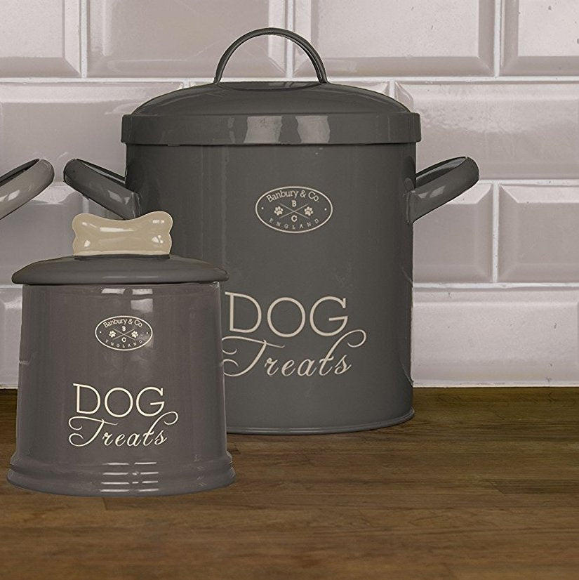 Banbury & Co Dog Storage Tin Warm Grey - Fernie's Choice Classic Country Wear for Dogs