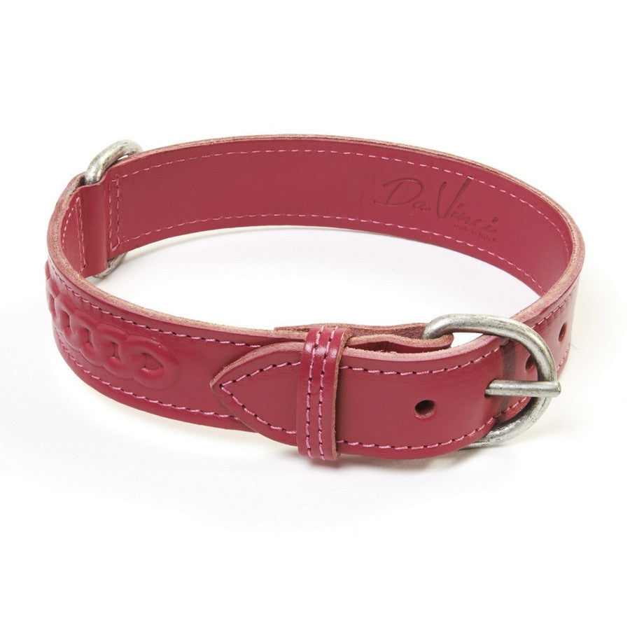 Da Vinci Fuchsia Leather Dog Lead - Fernie's Choice Classic Country Wear for Dogs