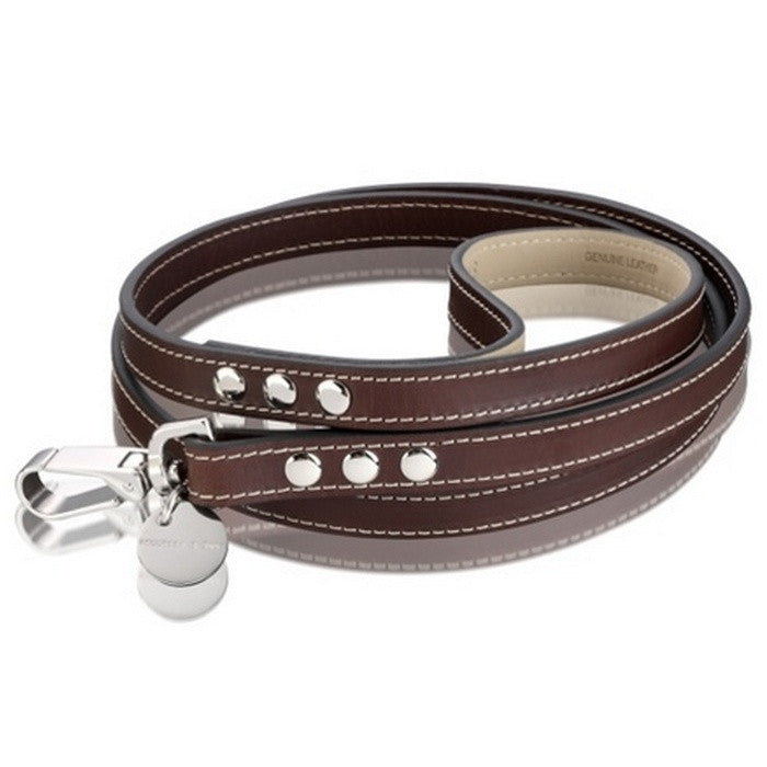 H & S Royal Chocolate Brown Leather Lead - Fernie's Choice Classic Country Wear for Dogs