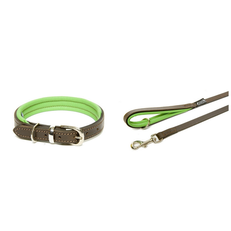 Dogs & Horses Padded Luxury Green Leather Collar & Lead Set - Fernie's Choice