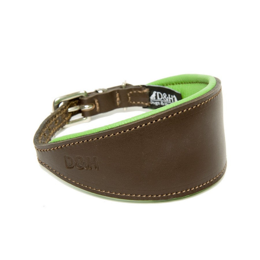 Dogs & Horses Green & Brown Padded Leather Greyhound Collar - Fernie's Choice