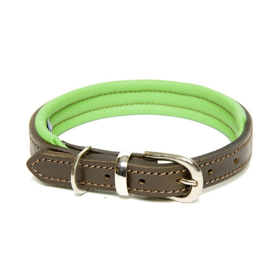 Dogs & Horses Green & Brown Leather Padded Dog Collar - Fernie's Choice