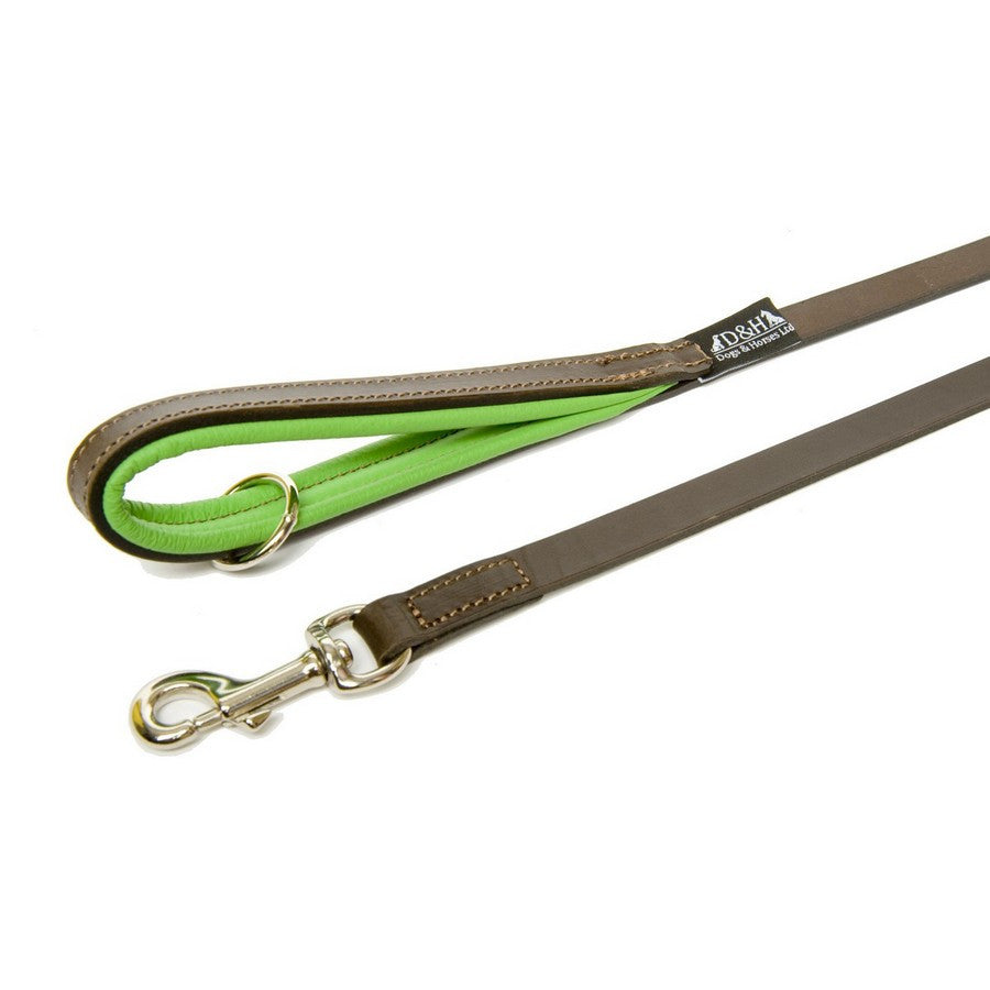 Dogs & Horses Luxury Green & Brown Padded Leather Dog Lead - Fernie's Choice