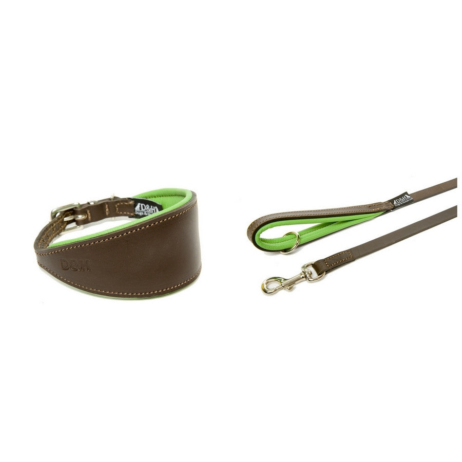 Dogs & Horses Green and Brown Padded Greyhound Leather Collar & Lead Set - Fernie's Choice