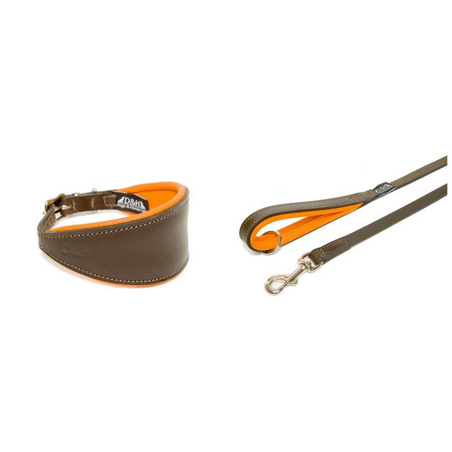 Dogs & Horses Padded Orange Hound Leather Collar & Lead Set - Fernie's Choice