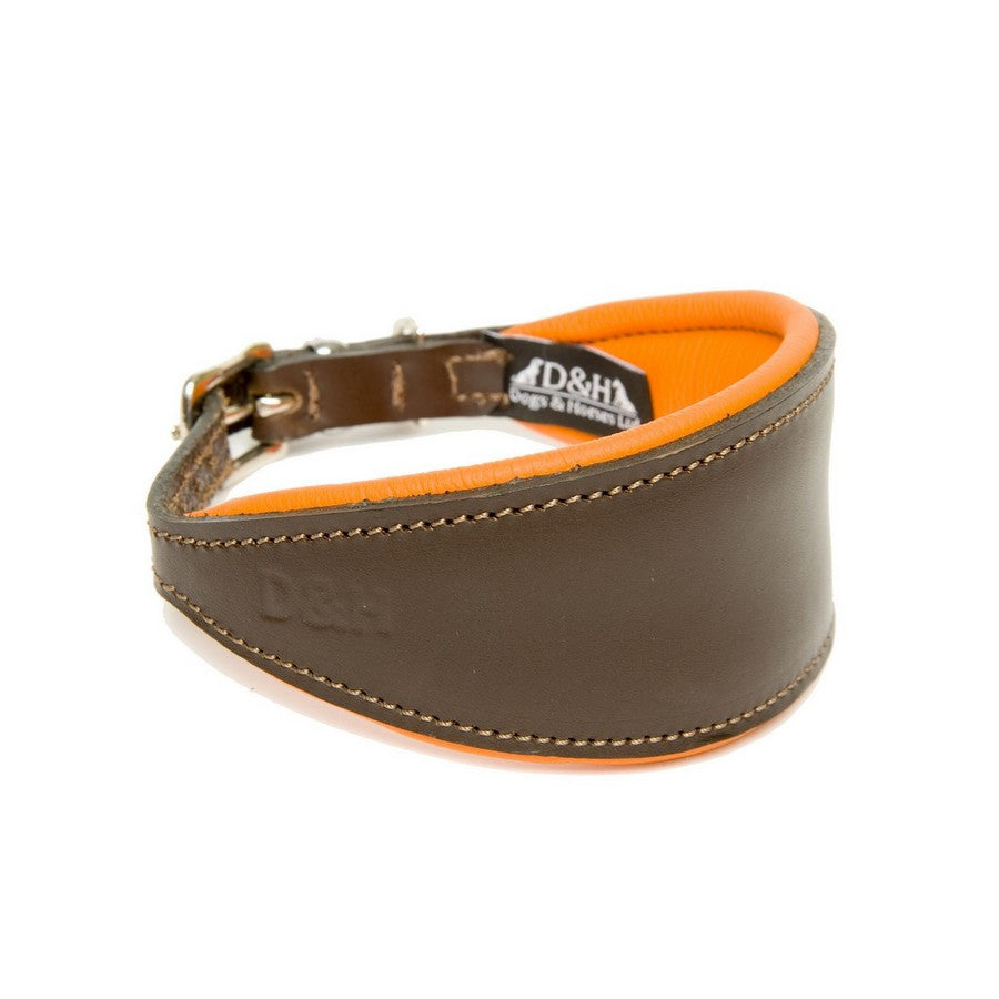 Dogs & Horses Orange Greyhound Padded Leather Collar - Fernie's Choice Classic Country Wear for Dogs