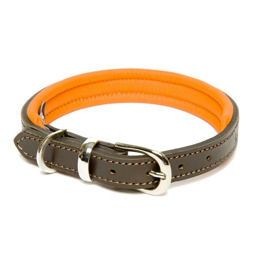 Dogs & Horses Luxury Orange Padded Leather Dog Collar - Fernie's Choice Classic Country Wear for Dogs