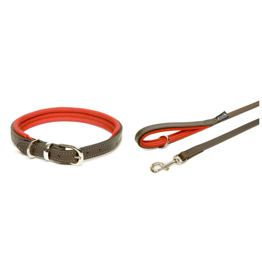Dogs & Horses Contemporary Luxury Red & Brown Leather Dog Collar & Lead Set - Fernie's Choice