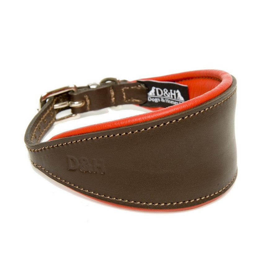 Dogs & Horses Red Greyhound Padded Leather Collar - Fernie's Choice Classic Country Wear for Dogs
