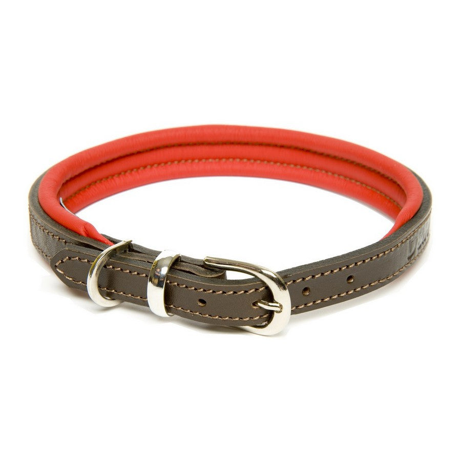 Dogs & Horses Contemporary Luxury Red & Brown Leather Dog Collars - Fernie's Choice