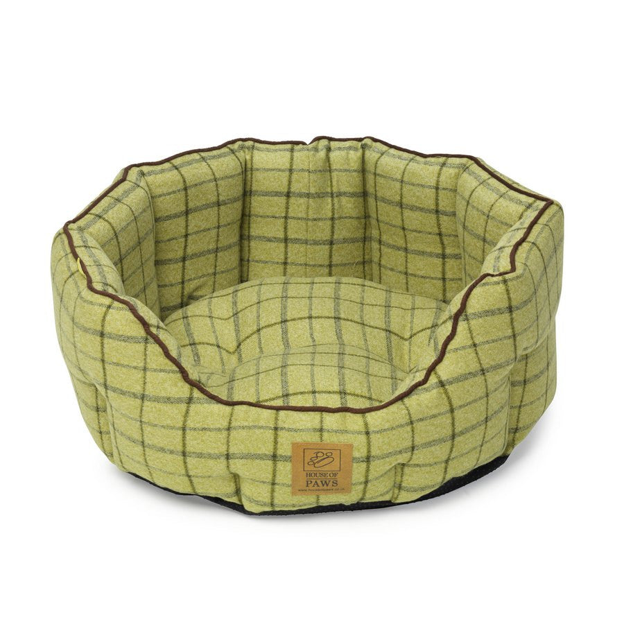 Green Tweed Oval Snuggle Bed from House of Paws