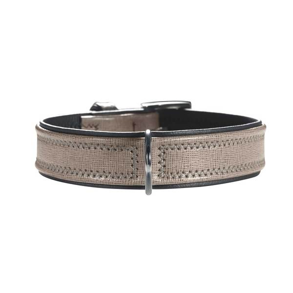 Hunter Grey & Black Leather Collar - Fernie's Choice Classic Country Wear for Dogs
