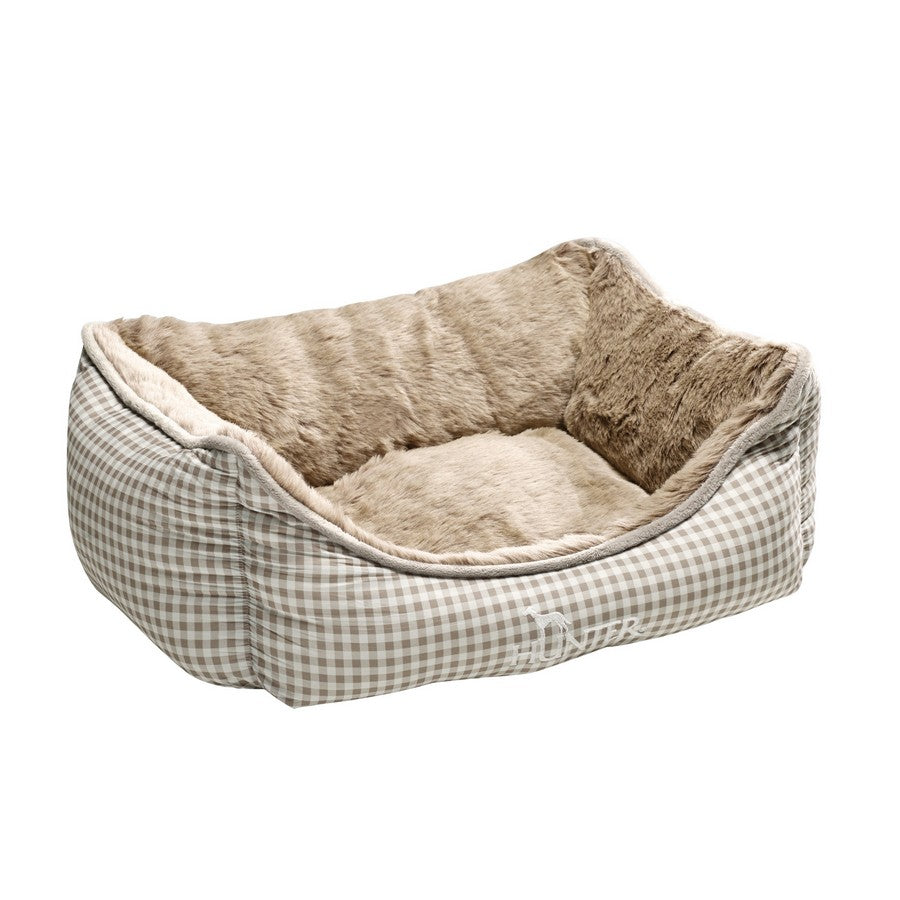 HUNTER Dog Sofa Astana with Plush, Medium, 80 x 60 cm, Brown Checked from Fernie's Choice. Luxury Dog Boutique.