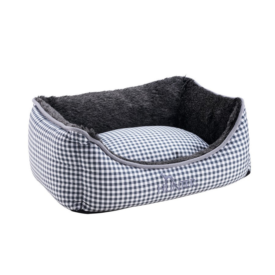 Astana Gingham Dog Bed by Hunter - Grey - Fernie's Choice Classic Country Wear for Dogs