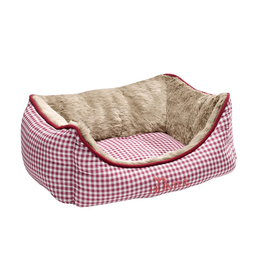 HUNTER Dog Sofa Astana with Plush, Medium, 80 x 60 cm, Red Checked from Fernie's Choice. Luxury Dog Boutique.