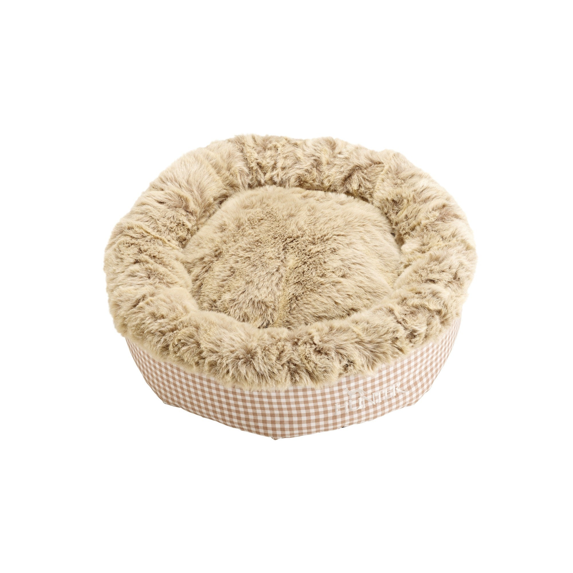 Astana Gingham Round Dog Bed by Hunter - Grey - Fernie's Choice Classic Country Wear for Dogs